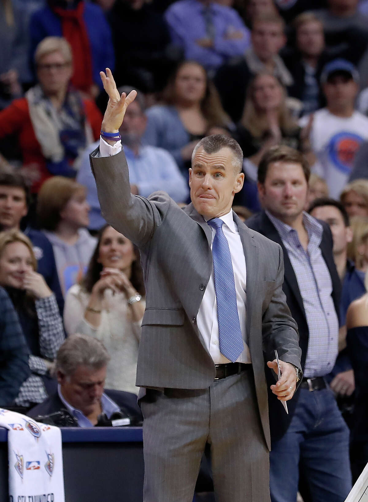 Oklahoma City Thunder head coach Billy Donovan reacts during a play against the Houston Rockets in the second half of an NBA basketball game in Oklahoma City, Friday, Dec. 9, 2016. (AP Photo/Alonzo Adams)