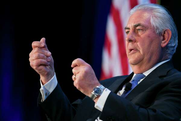 Rex Tillerson, Chairman, President and CEO of Exxon Mobil Corporation, speaks during an Economic Club of Washington event on March 12, 2015 in downtown Washington, D.C. (Kristoffer Tripplaar/Sipa USA/TNS)