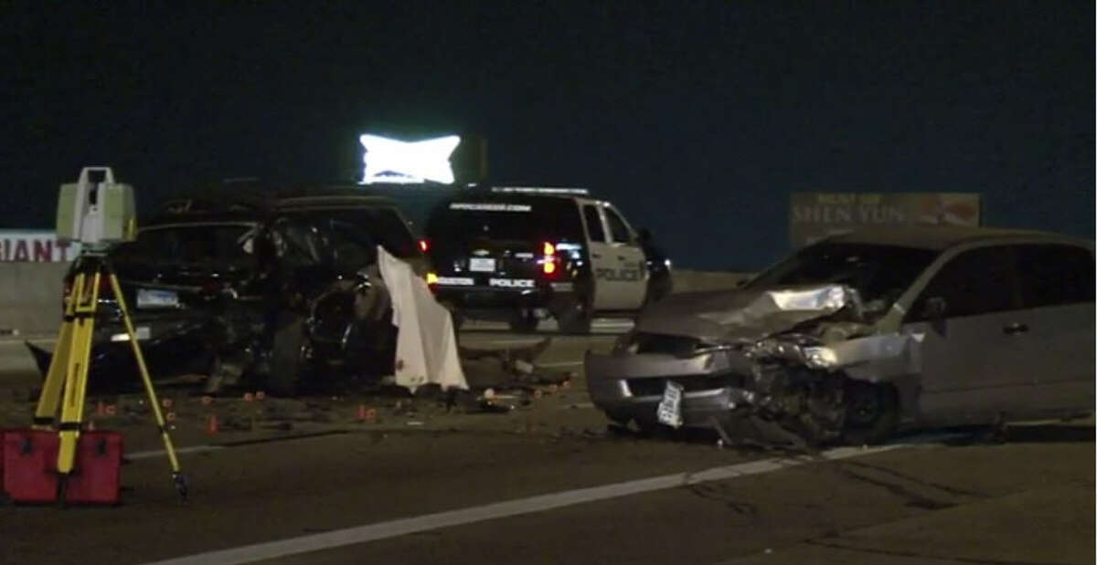 A man died and a woman was hurt in chain-reaction crash about 2:30 a.m. Saturday, Dec. 10, 2016, on the outbound North Freeway near West Road. (Metro Video)