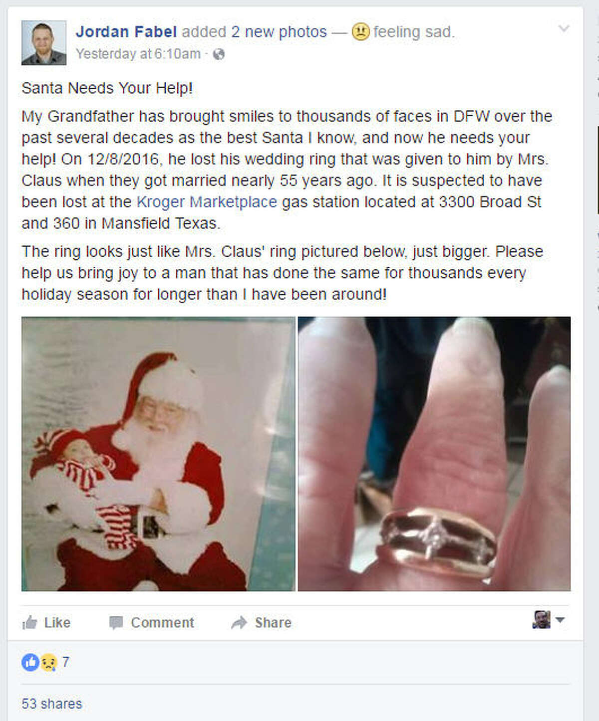 A Fort Worth, Texas, man has turned to Facebook to help his grandfather find a wedding ring he lost. Jordan Fabel's grandfather has played Santa Claus for years in the Dallas-Fort Worth area on Thursday, Dec. 8, 2016.