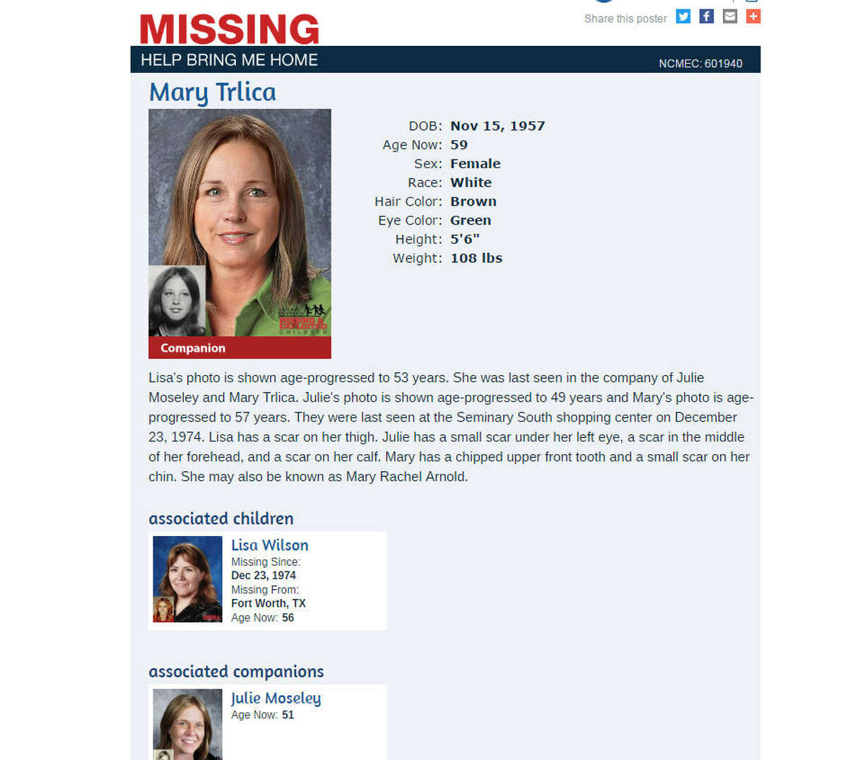 Where are you? The missing persons poster for Mary Trlica, who disappeared from a Fort Worth, Texas, shopping mall in 1974. The photo is her age-progressed. Her family is making a new push to solve the mystery of what happened to her and two other girls.