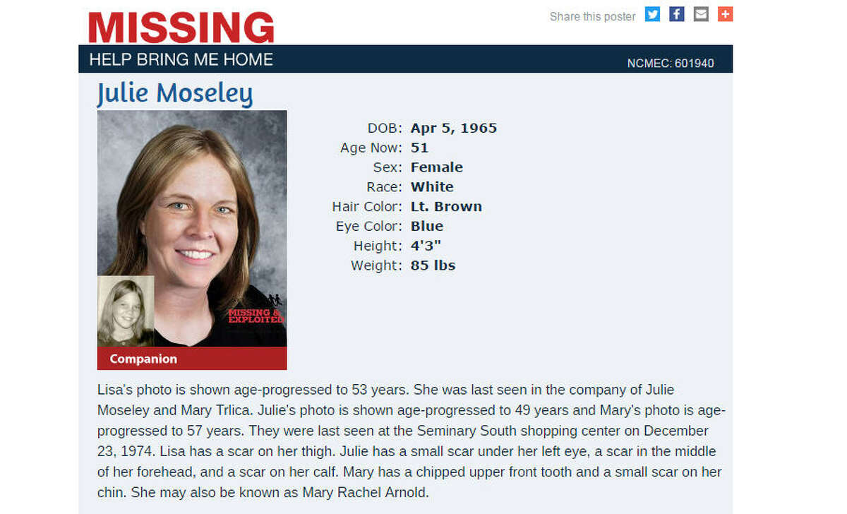Three Fort Worth girls went missing 42 years ago. A family now wants answers. The missing persons poster for Julie Moseley, who disappeared from a Fort Worth, Texas, shopping mall in 1974. The photo is her age-progressed. A family is making a new push to solve the mystery of what happened to her and two other girls.