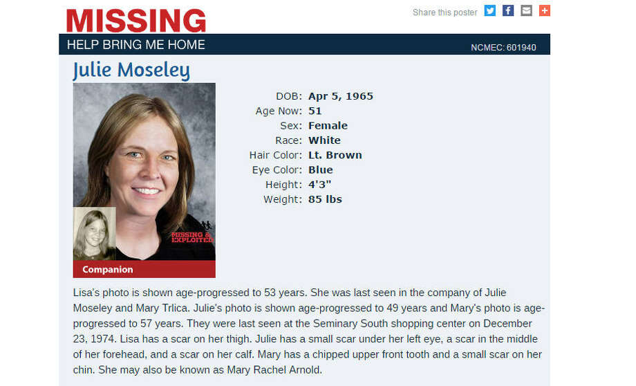 Three Fort Worth girls went missing 42 years ago. A family now wants answers.The missing persons poster for Julie Moseley, who disappeared from a Fort Worth, Texas, shopping mall in 1974. The photo is her age-progressed. A family is making a new push to solve the mystery of what happened to her and two other girls. Photo: Center For Missing And Exploited Children