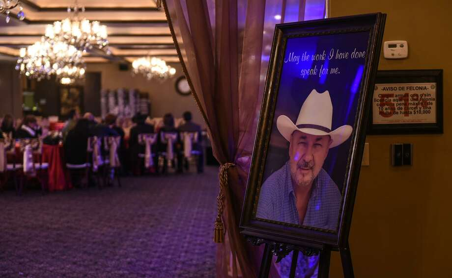 A portrait of the late Hector Benavides sits at the entrance of at Castilian Royal Reception Hall on Thursday night during a vigil held for Benavides. Photo: Danny Zaragoza,  Staff Photographer / Laredo Morning Times / Laredo Morning Times