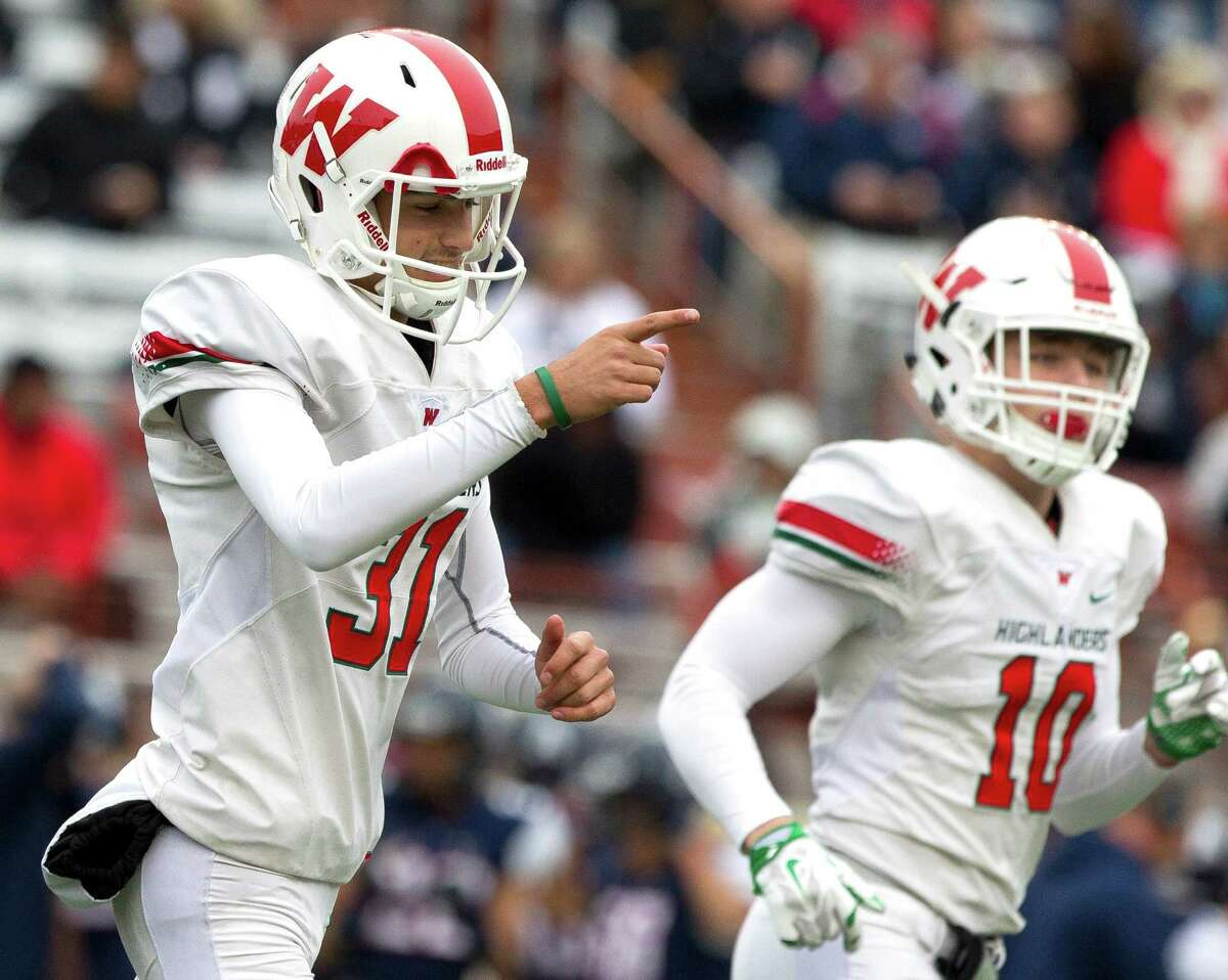 The Woodlands kicker Lockhart West (31) points toward the sideline after making a 24-yard field goal during the first quarter of a Class 6A Division I state semifinal game at Darrell K Royal-Texas Memorial Stadium Saturday, Dec. 10, 2016, in Austin. West hit a pair of field goals, including a 39-yarder in the first half.