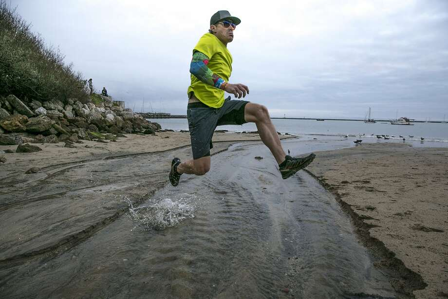 "Eric Byrnes trains in Half Moon Bay. The former big-league outfielder who spent parts of 11 seasons in the majors, six with the A's, now runs 100-mile races. ""I want to figure out what my body is capable of,"" he says. Photo: Santiago Mejia, The Chronicle"