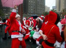 The pre-pub crawl scene at the 2016 Santacon in Union Square, San Francisco, Calif.