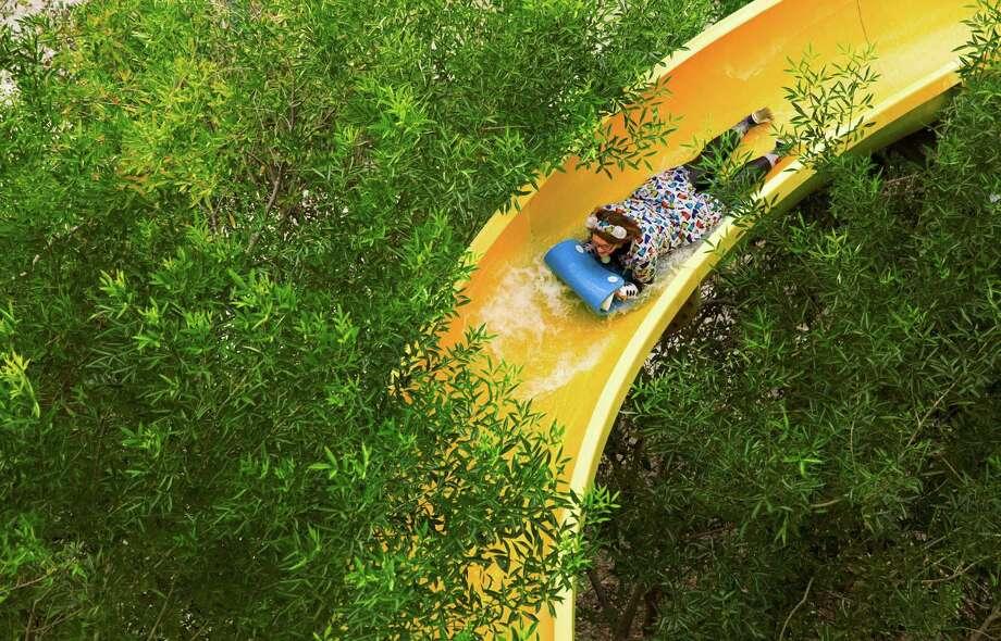 Tamara Holcomb rides a waterslide during the Special Olympics Texas Polar Plunge at Splashtown in San Antonio, Texas on December 10, 2016. Ray Whitehouse / for the San Antonio Express-News Photo: Ray Whitehouse, Photographer / For The San Antonio Express-News / B641367497Z.1