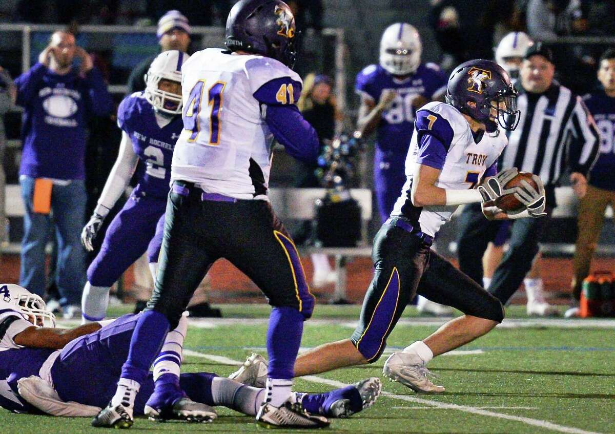 Troy #7 Joe Casale intercepts a New Rochelle pass during the Class AA state semifinal game at Dietz Stadium Saturday Nov. 19, 2016 in Kingston, NY. (John Carl D'Annibale / Times Union)