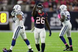 Houston Texans running back Lamar Miller (26) signals a first down after one of his runs during the third quarter of an NFL football game at NRG Stadium, Sunday,Oct. 16, 2016 in Houston.