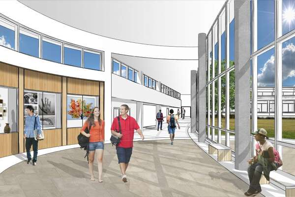 A rendering of the proposed new entrance to Shaker High School, construction that is part of the $196.4 million spending plan to be considered on Thursday by voters in the North Colonie school district. (Submitted image.)