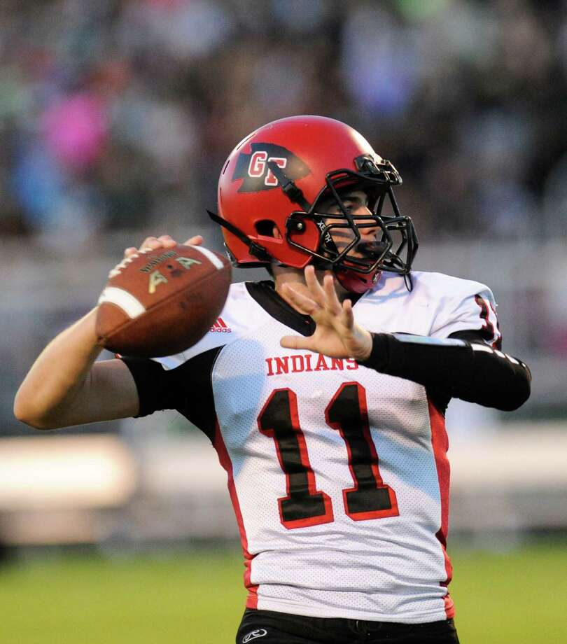 Glens Falls' quarterback Joseph Girard (11) throws a pass against Schalmont during their Class B high school football game in Rotterdam, N.Y., Friday, Sept. 9, 2016. (Hans Pennink / Special to the Times Union) ORG XMIT: HP102 Photo: Hans Pennink / 20037948A