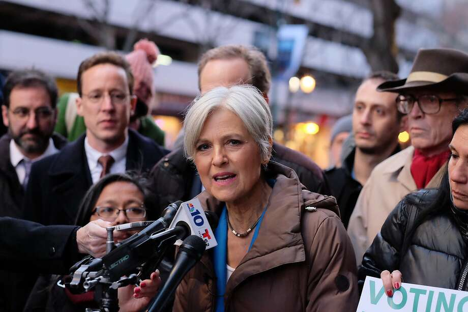 Green Party candidate Jill Stein speaks outside the federal courthouse in Philadelphia on Friday. Photo: Ed Hille, Associated Press