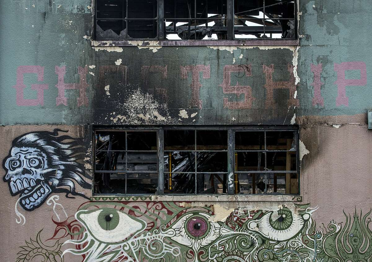 The charred remains of the Ghost Ship warehouse on Saturday, Dec. 10, 2016 in Oakland. Thirty-six people were killed when a fire broke out on Dec. 2 at the Ghost Ship warehouse on 31st Avenue and International Boulevard in Oakland's Fruitvale neighborhood.