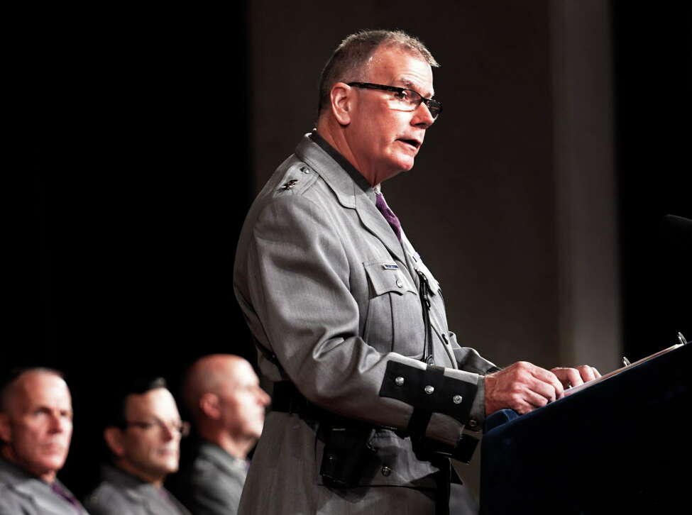 State Police Superintendent George P. Beach II has declined to answer questions about his position on the agency's handling of internal investigations involving criminal conduct by troopers. The agency also refused to provide basic information about its internal affairs bureau. (Skip Dickstein/Times Union)
