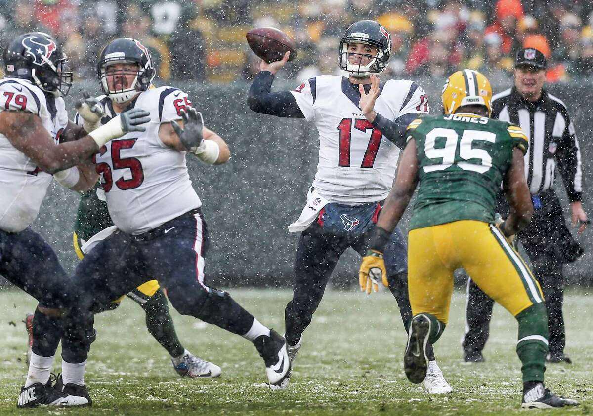 Quarterback Brock Osweiler, finding a target in the Lambeau Field refrigerator last Sunday, ranks last in the NFL in yards per passing attempt at 5.7 and hasn't thrown for 300 yards as a Texan.