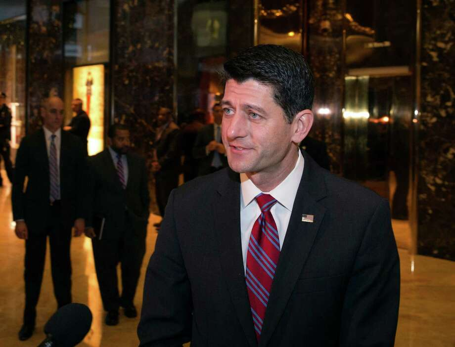 House Speaker Paul Ryan of Wis., addresses the press in the lobby of Trump Tower after his meeting with President-elect Donald Trump, Friday, Dec. 9, 2016, in New York. (AP Photo/Kevin Hagen) ORG XMIT: NYKH101 Photo: Kevin Hagen / FR170574 AP