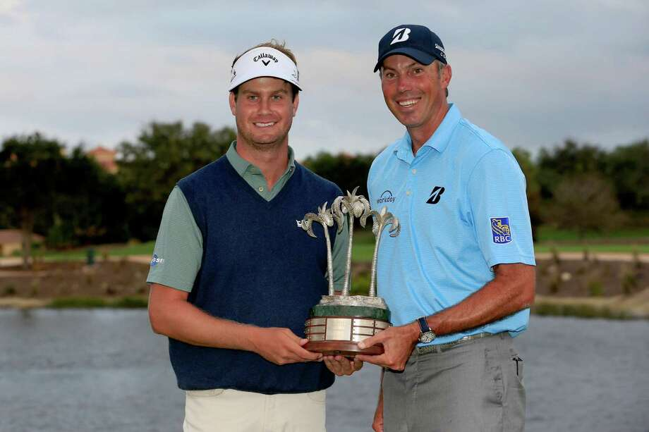 NAPLES, FL - DECEMBER 10:  (L) Harris English and his teammate (R) Matt Kuchar pose with the tournament trophy following their victory after the final round of the Franklin Templeton Shootout at Tiburon Golf Club  on December 10, 2016 in Naples, Florida.  (Photo by Chris Trotman/Getty Images) ORG XMIT: 686259121 Photo: Chris Trotman / 2016 Getty Images