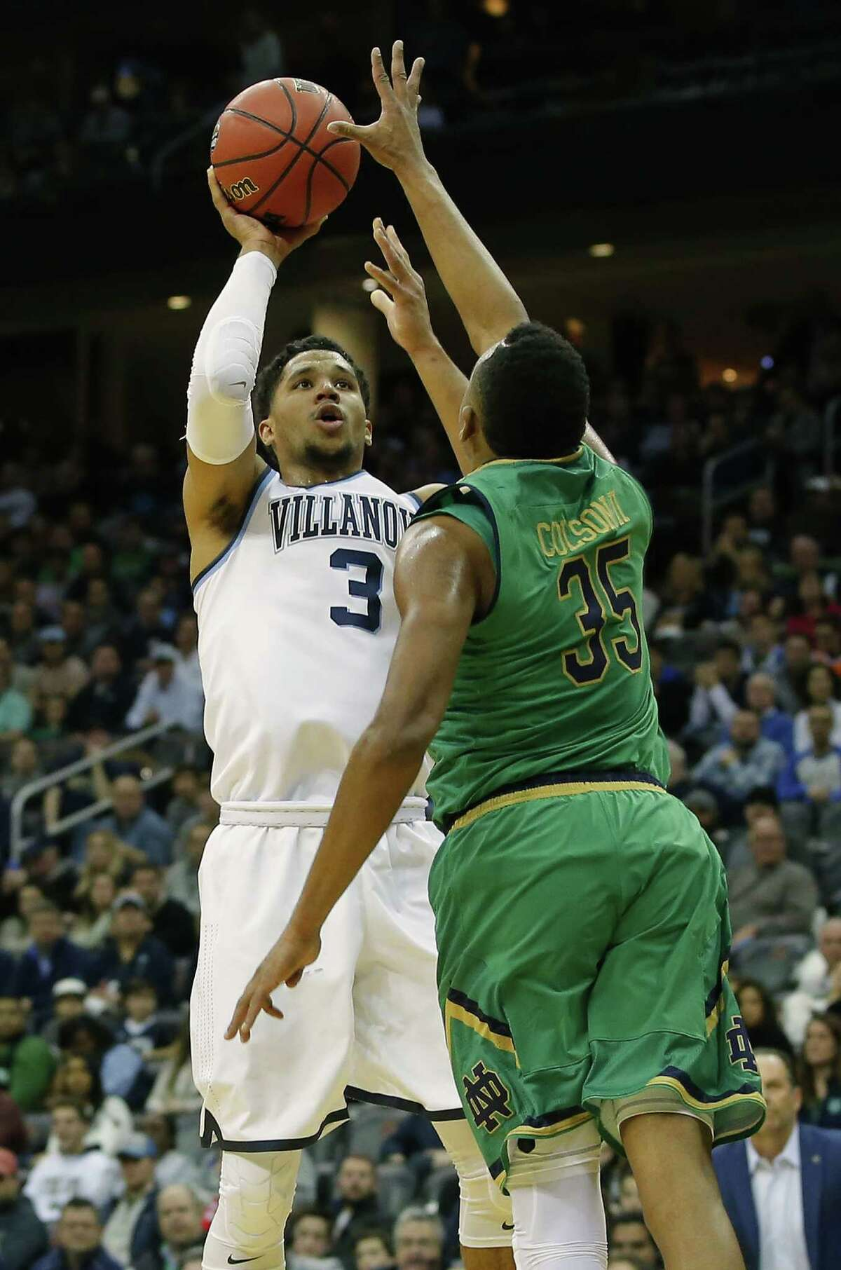 Villanova's Josh Hart hoists a shot over Notre Dame's Bonzie Colson during the first half Saturday. He was 10-of-14 from the field and even better when he was standing still, hitting all 14 of his free-throw attempts.