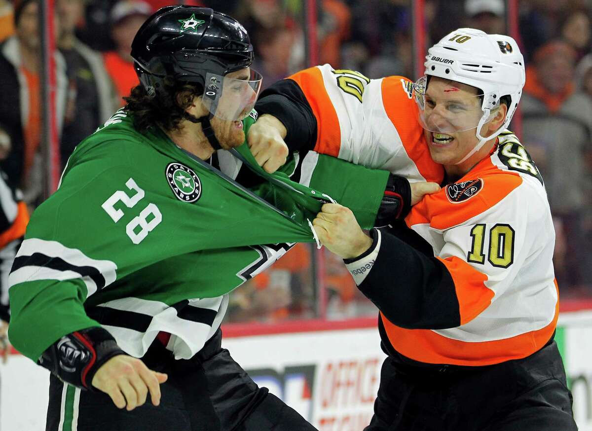 When Philadelphia's Brayden Schenn, right, wasn't trading punches with Dallas' Stephen Johns, he was scoring three goals in the Flyers' 4-2 win Saturday.