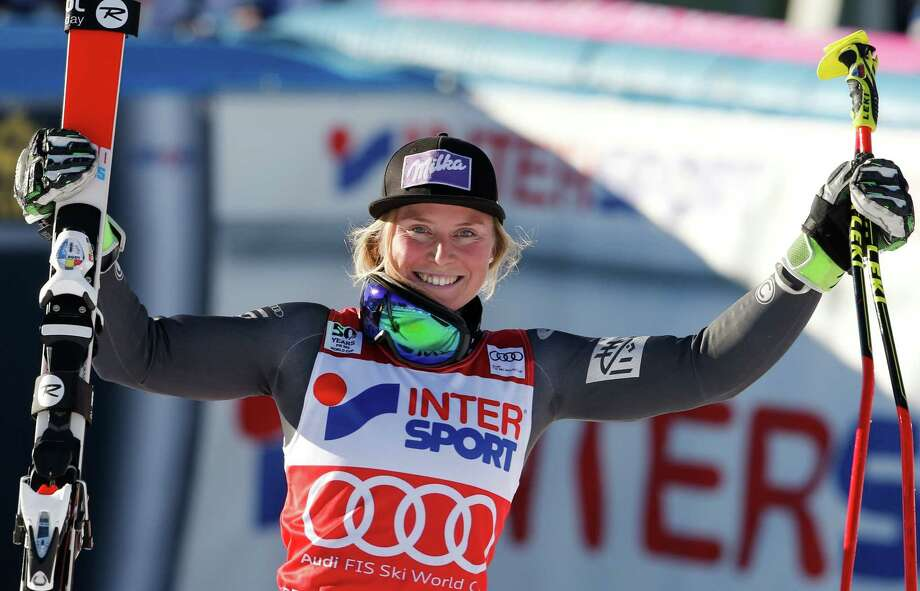 France's Tessa Worley celebrates after winning an alpine ski, women's World Cup giant slalom, in Sestriere, Italy, Saturday, Dec. 10, 2016. (AP Photo/Marco Trovati) ORG XMIT: FP205 Photo: Marco Trovati / Copyright 2016 The Associated Press. All rights reserved.