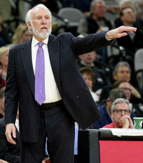 Spurs coach Gregg Popovich calls a play during second half action against the Brooklyn Nets on Dec. 10, 2016 at the AT&T Center. Photo: Edward A. Ornelas /San Antonio Express-News / © 2016 San Antonio Express-News