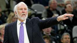 San Antonio Spurs head coach Gregg Popovich calls a play during second half action against the Brooklyn Nets Saturday Dec. 10, 2016 at the AT&T Center. The Spurs won 130-101.