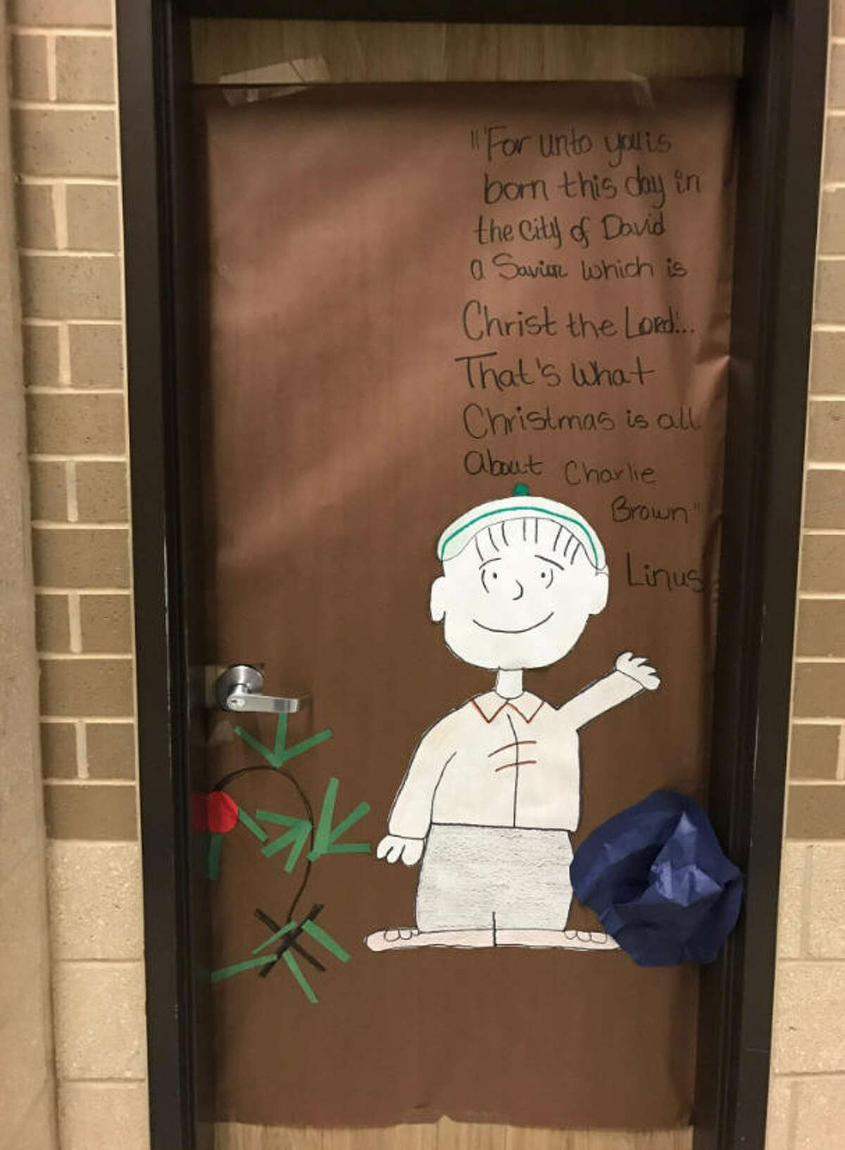 The door display A door display at Patterson Middle School in Killeen set off a firestorm among the school and parents. At issue is the quote from Linus that school officials found promoting religion. Parents were unhappy with the decision to take down the display. Click through to see more about Charlie Brown and Christmas.