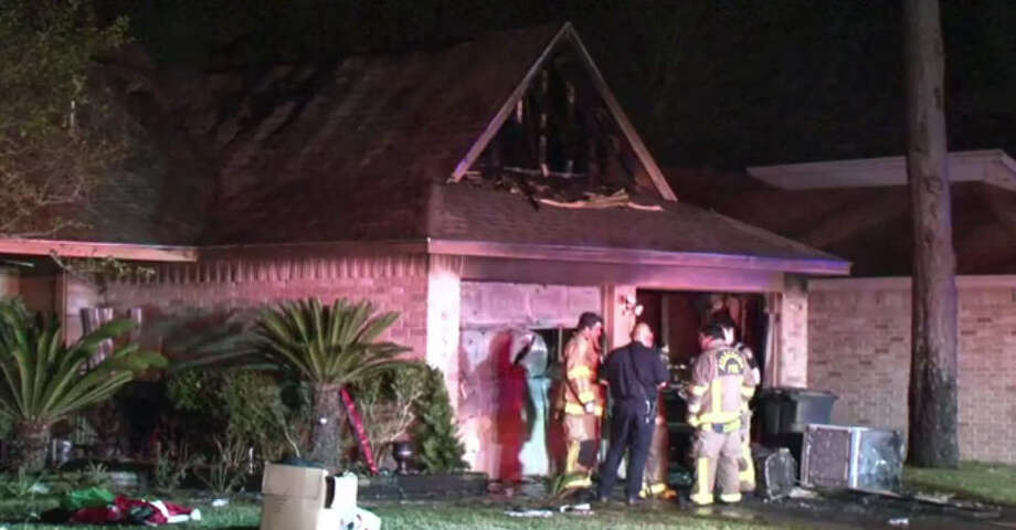 Fire crews responded to a two-alarm blaze in Atascocita Saturday night. Photo: Metro Video