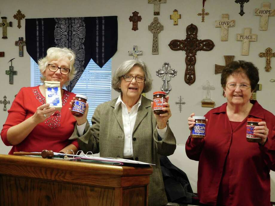 """Members of the Woman's Club of Cleveland gathered at the Cleveland First United Methodist Church for their Christmas meeting.Elizabeth Hamzy of the WHH Ranch Company of Shepherd spoke about their thriving small business begun by her mother-in-law Mindy Hamzy in 1939 producing a variety of salsas, steak sauces, pickles, and many other items that are handmade!The company goal is""""to provide products that our customers will never want to be without"""", such a great example of local entrepreneurship.Visit their website at www.whhranch.com for more product and shipping information.Pictured (left to right) areClub President Carol Jordan; Elizabeth Hamzy of WHH Ranch; and Club Home Life Chairman Doris Rush. Photo: Submitted"""