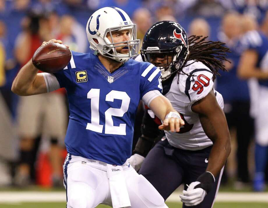 Houston Texans defensive end Jadeveon Clowney (90) pressures Indianapolis Colts quarterback Andrew Luck (12) into throwing an incomplete pass during the second quarter of an NFL football game at Lucas Oil Stadium on Sunday, Dec. 11, 2016, in Indianapolis. Photo: Brett Coomer, Houston Chronicle / © 2016 Houston Chronicle
