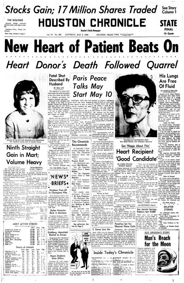 Houston Chronicle front page (HISTORIC) - May 4, 1968 (STATE EDITION) - section 1, page 1. New Heart of Patient Beats On. (Everett C. Thomas heart transplant) Photo: HC Staff / Houston Chronicle