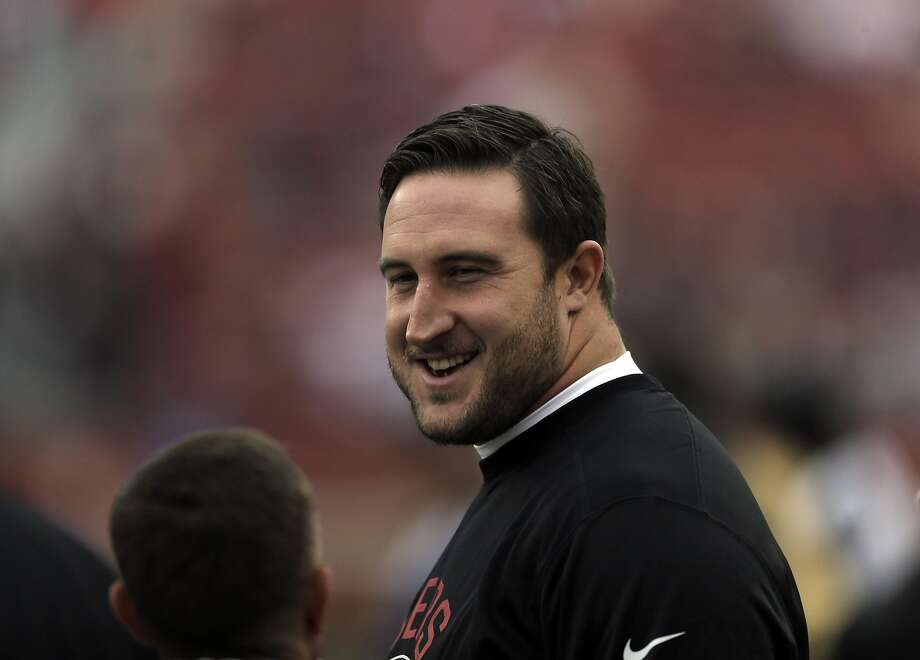 Joe Staley (74) on the sidelines before the first half as the San Francisco 49ers played the New York Jets at Levi's Stadium in Santa Clara, Calif., on Sunday, December 11, 2016. Photo: Carlos Avila Gonzalez, The Chronicle