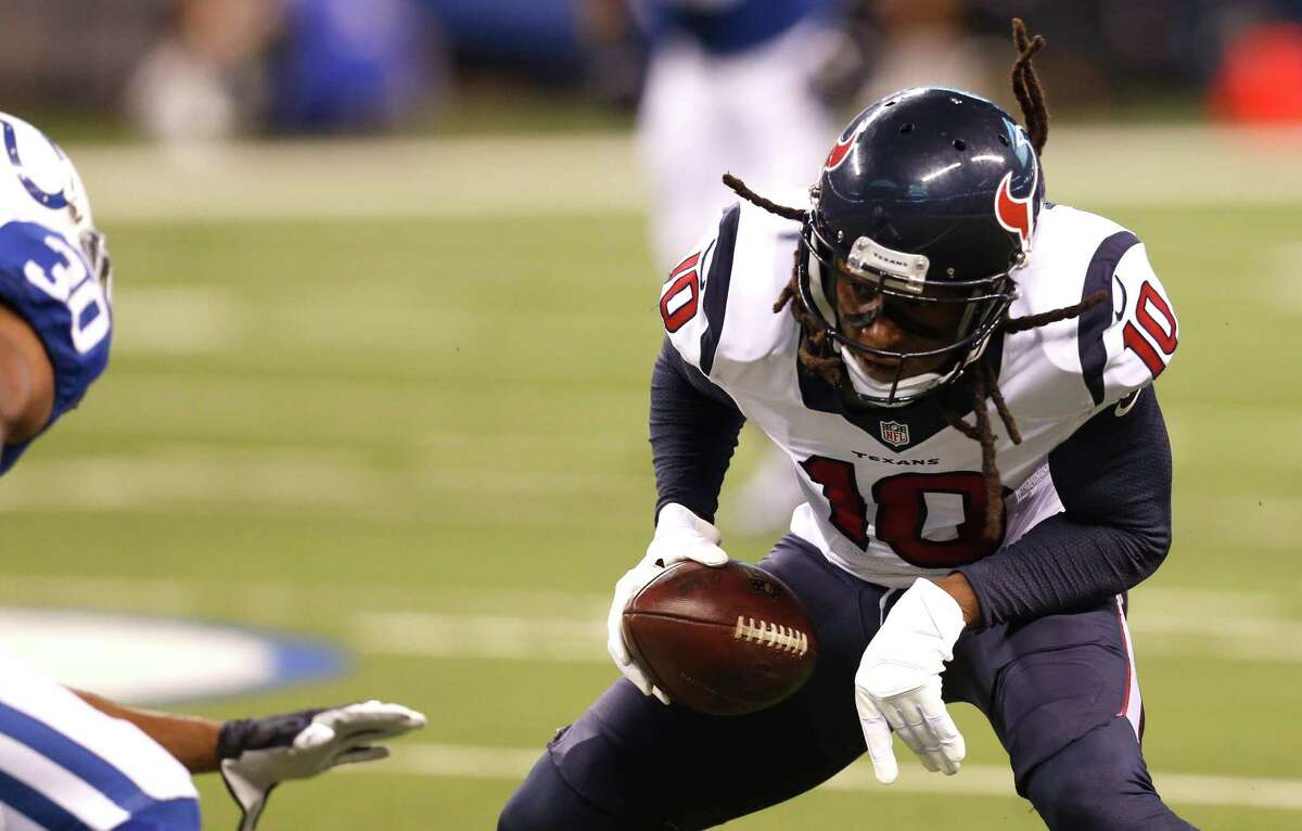 JOHN McCLAIN'S GRADES FOR TEXANS-COLTS Wide receiver/tight end The receivers combined for 14 catches because the emphasis was on the running game. DeAndre Hopkins was limited to two catches for 33 yards. C.J. Fiedorowicz and Ryan Griffin combined for five receptions. Grade: C-plus