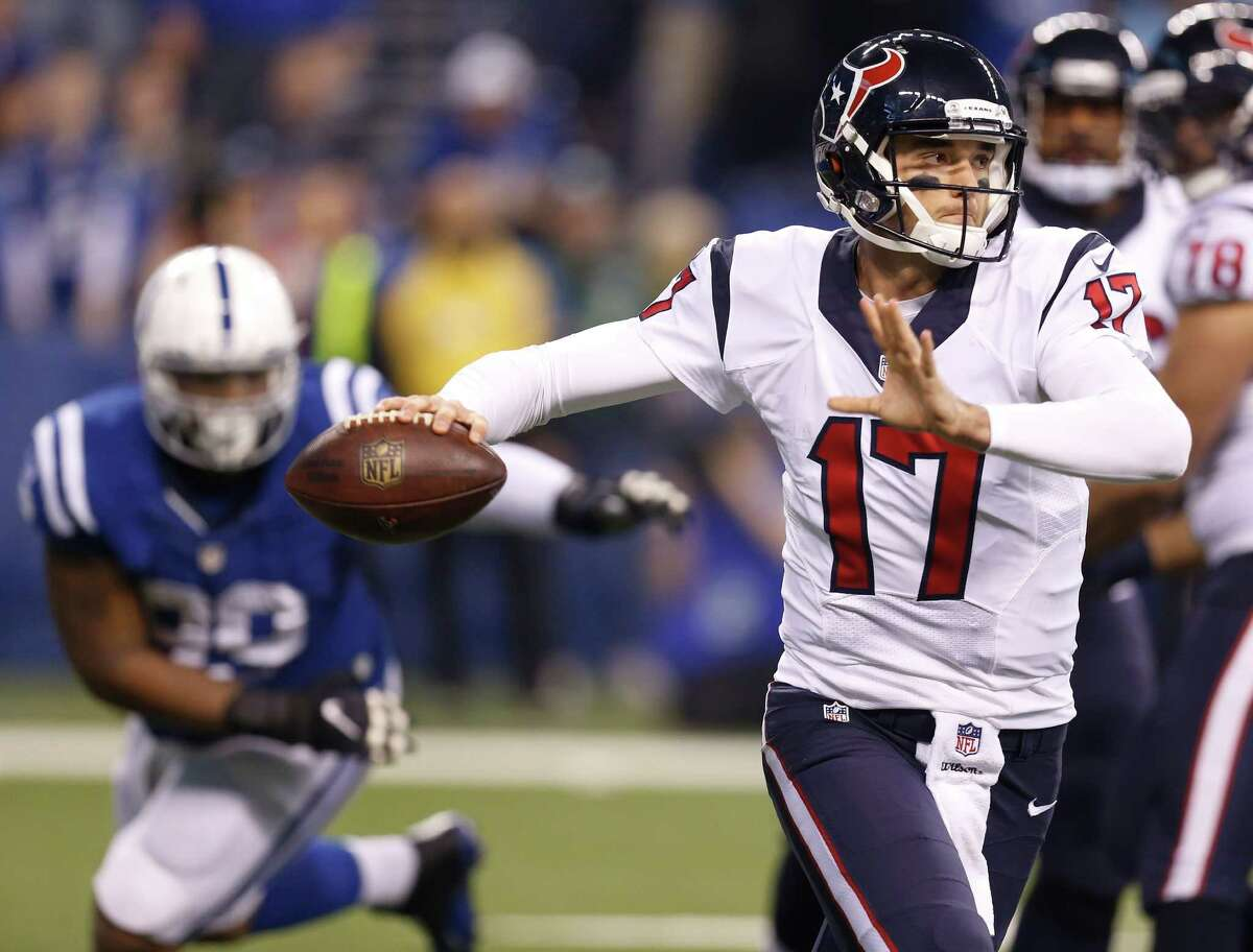 JOHN McCLAIN'S GRADES FOR TEXANS-COLTS Quarterback Brock Osweiler threw for only 147 yards, was sacked twice, threw one interception and had a 58.9 rating, but he made some crucial throws that moved the chains. He also engineered six scoring drives and, most important, the Texans won the game. Grade: C