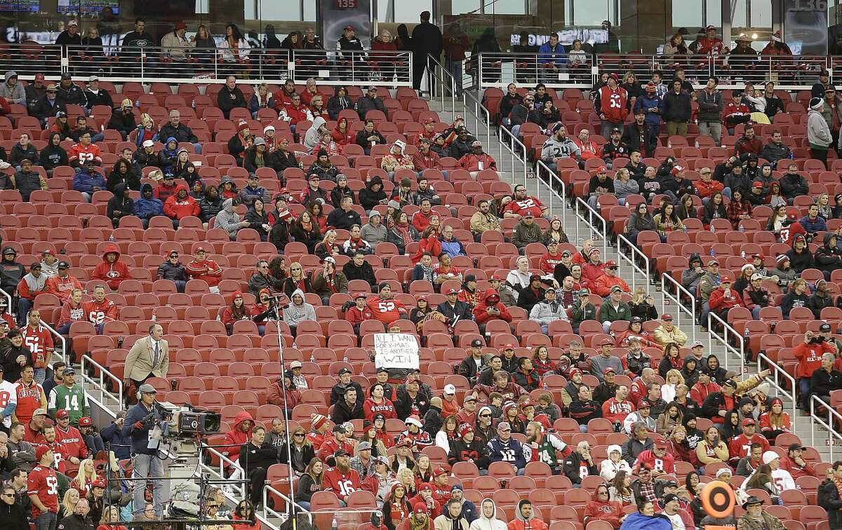 Fans and empty seats at Levi's Stadium during overtime of an NFL football game between the San Francisco 49ers and the New York Jets in Santa Clara, Calif., Sunday, Dec. 11, 2016. (AP Photo/Ben Margot)