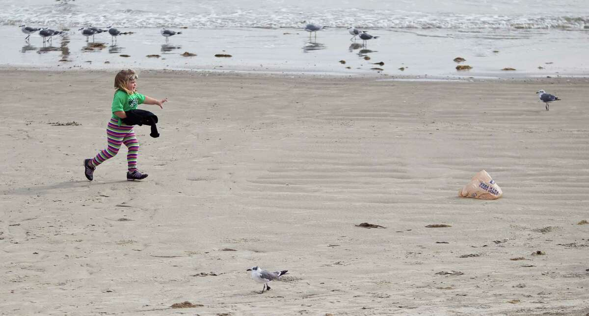 Emma Hubbard, 3, of Lufkin, chases her plastic bag as she plays on the Seawall beach, Thursday, Nov. 29, 2012, in Galveston.