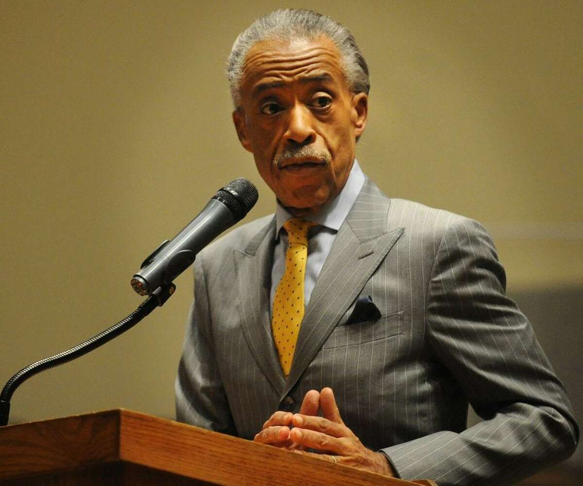 FILE - Rev. Al Sharpton speaks to a get out the vote rally at Mt. Aery Baptist Church in Bridgeport on Sunday, November 4, 2012.