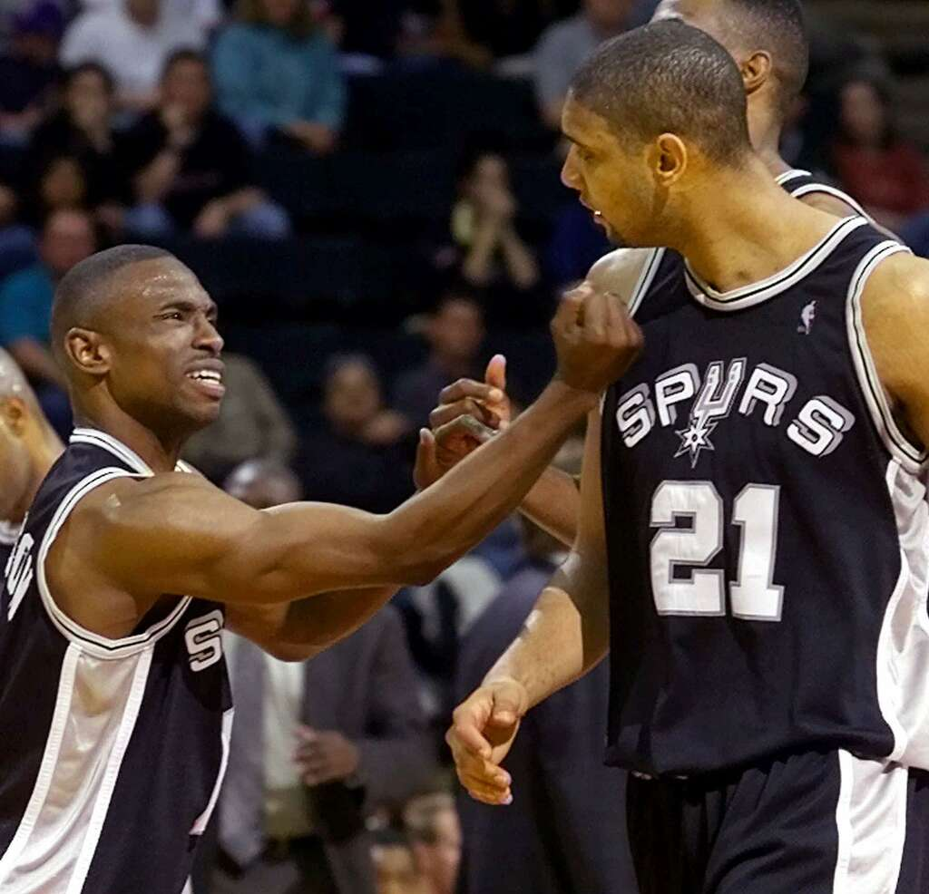 Always Duncan s opposite Johnson wel es him to Spurs rafters