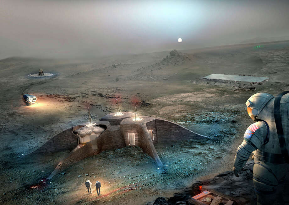 """PHOTOS:What architects think NASA Mars settlements will look likeArchitectural concepts for NASA's """"3D-Printed Habitat Challenge,"""" a competition created by NASA to judge design concepts of Mars settlements.Click through to see the most interesting designs. Photo: NASA 3D-Printed Habitat Challenge"""