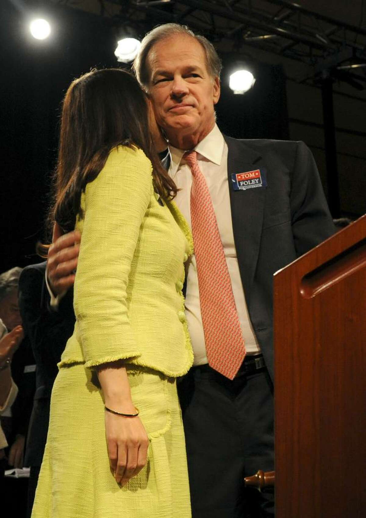 Tom Foley, nominated for governor Saturday at the Republican State Convention in Hartford, hugs his wife.