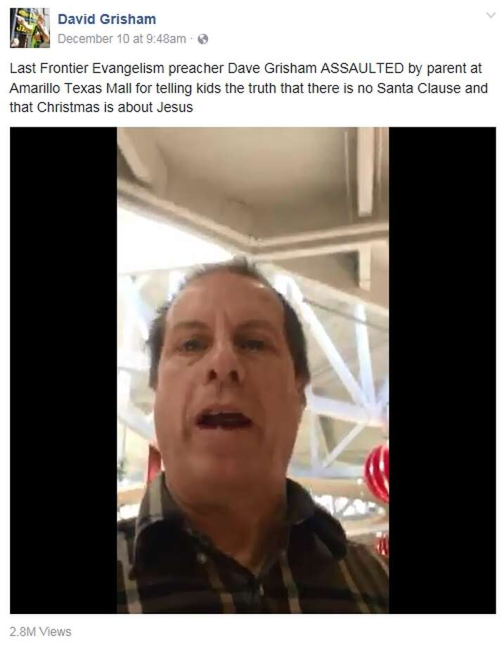 Screengrab of a Dec. 10 Facebook video posted on David Grisham's account in which he preached to families gathered at an Amarillo mall that Santa isn't real. The clip has been deleted. Photo: Facbook.com/David.Grisham.58