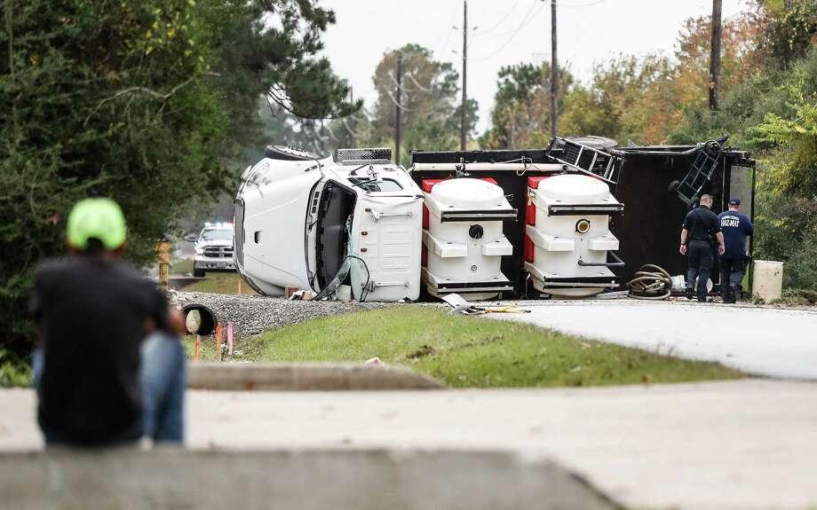 Scene of an overturned truck/chemical spill at 2430 Ferrell Road, Monday Dec 12, 2016. Photo: Karen Warren / Houston Chronicle