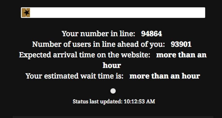 'Hamilton' seats became available to the general public Monday morning, and only minutes after the official 10 a.m. sale time nearly 100,000 people were in the digital queue. Photo: SHNSF Screen Capture