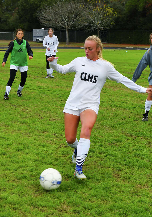 Concordia Lutheran senior defender Abi Janszen lines up a kick at practice last week. Janszen, who will be headed to play at Xavier when she graduates, is one of three NCAA D-I commits/signees on the Lady Crusaders' squad, a captain, and a key cog in head coach Tim Grove's state-title-hopeful squad. Photo: Tony Gaines / HCN