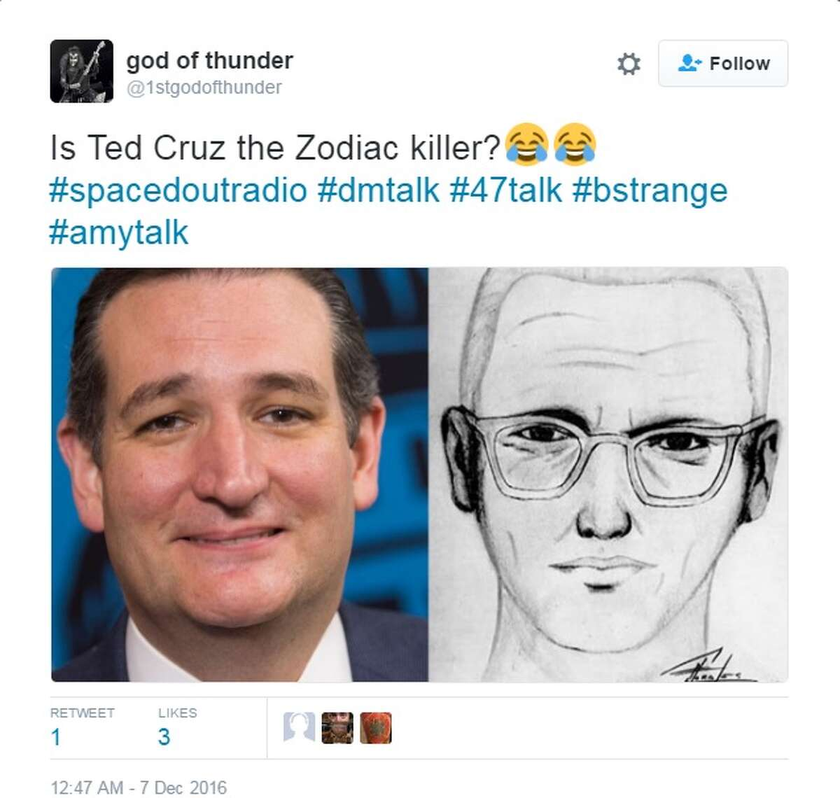 Click through this gallery to see some of the other memes that defined 2016. Texas Sen. Ted Cruz was featured on numerous memes this year. One of the most popular Cruz memes for 2016 theorized Cruz was the Zodiac Killer. While few (if anyone) took it seriously, he couldn't shake the fact that he bears some resemblence to the famed killer. Image source: Twitter