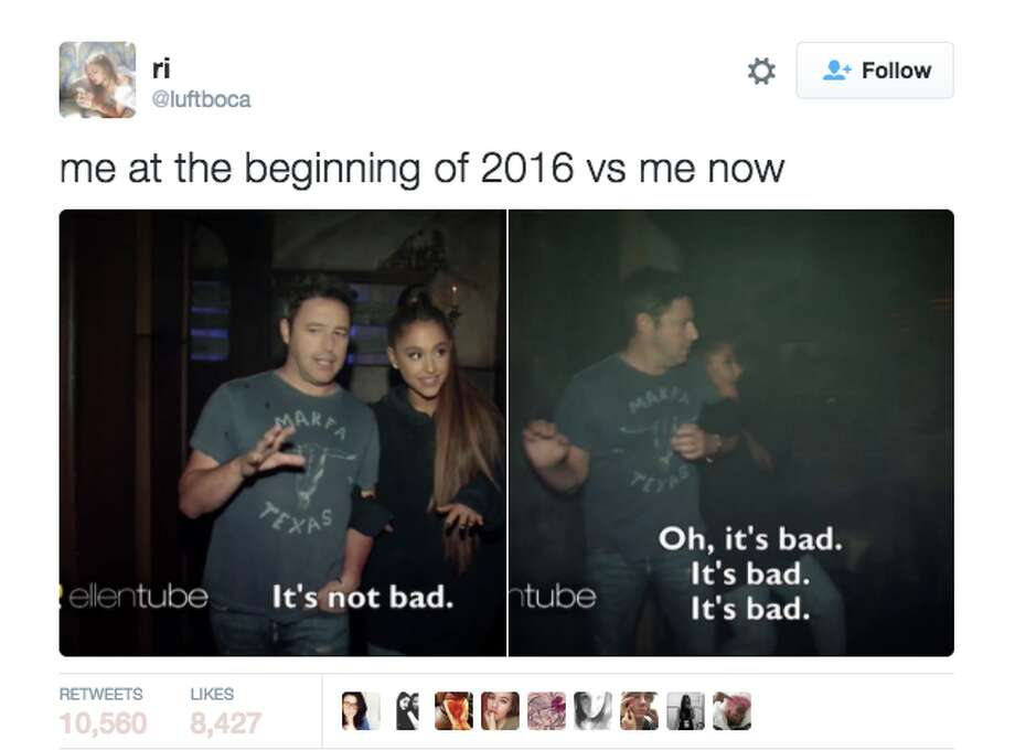 "One of the first ""me at the beginning of 2016"" memes to go viral; it has over 10,000 retweets. Photo: Screenshot"