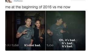 "A ""me at the beginning of 2016"" meme from Twitter."