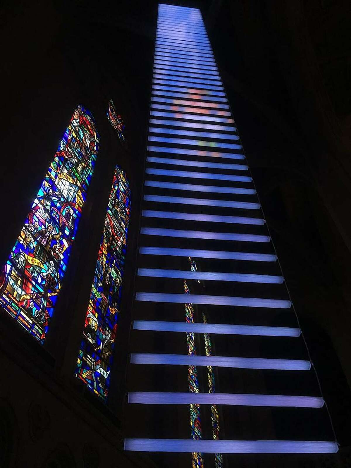 Jim Campbell and�Benjamin Bergery,��Jacob�s Dream: A Luminous Path,� a site-specific installation at Grace Cathedral