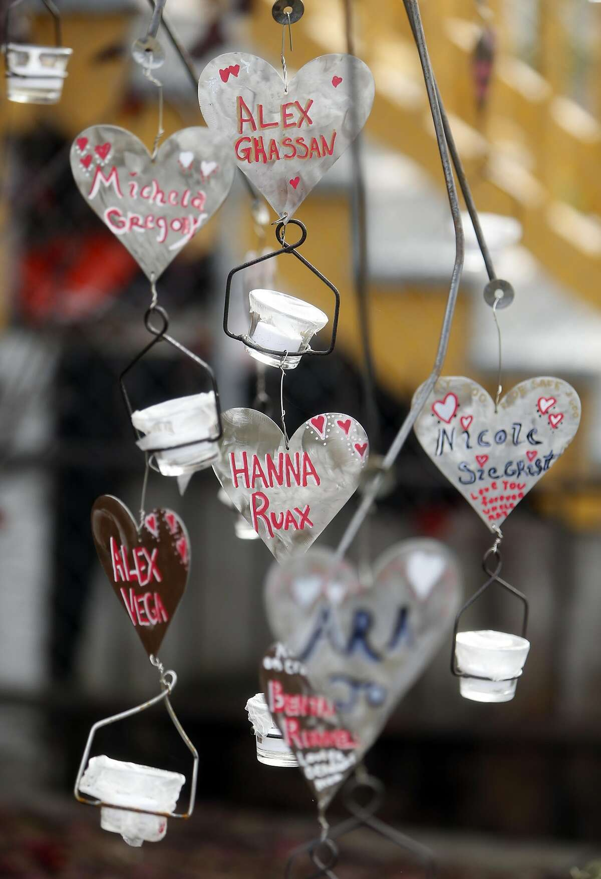 A memorial for fire victims across 31st Avenue from the Ghost Ship warehouse in Oakland, Calif., on Monday, December 12, 2016.